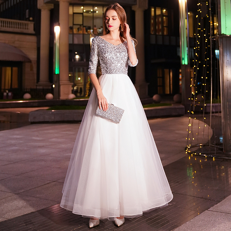 Image 3 - weiyin White A line Long Evening Dresses V neck Half Sleeves Floor Length Sequined Evening Dress Formal Party Dress Prom Dress-in Evening Dresses from Weddings & Events