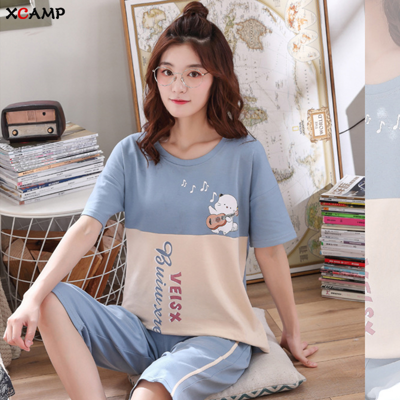 XCAMP Cotton   Pajamas   Print Casual Style Women Nightgown Women   Pajamas     Set   Summer Clothes For Women Sleepwear Calf- Length Pants