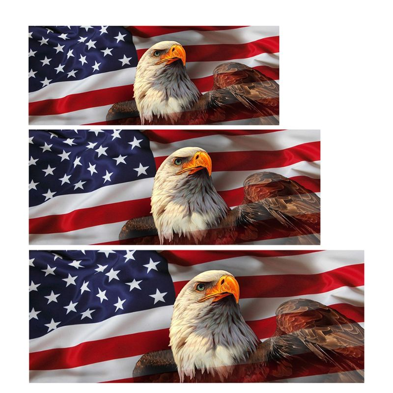 American Eagle Flag Perforated Vinyl Decal Truck Rear Window Sticker Made in USA