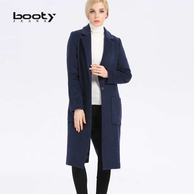 Blue gris Laine Manteaux Haute taille De Manteau Hiver Large Qualité Navy Pure Et Bouton Longue Long Femmes Bootyjeans Unique Couleur UOxHdnO