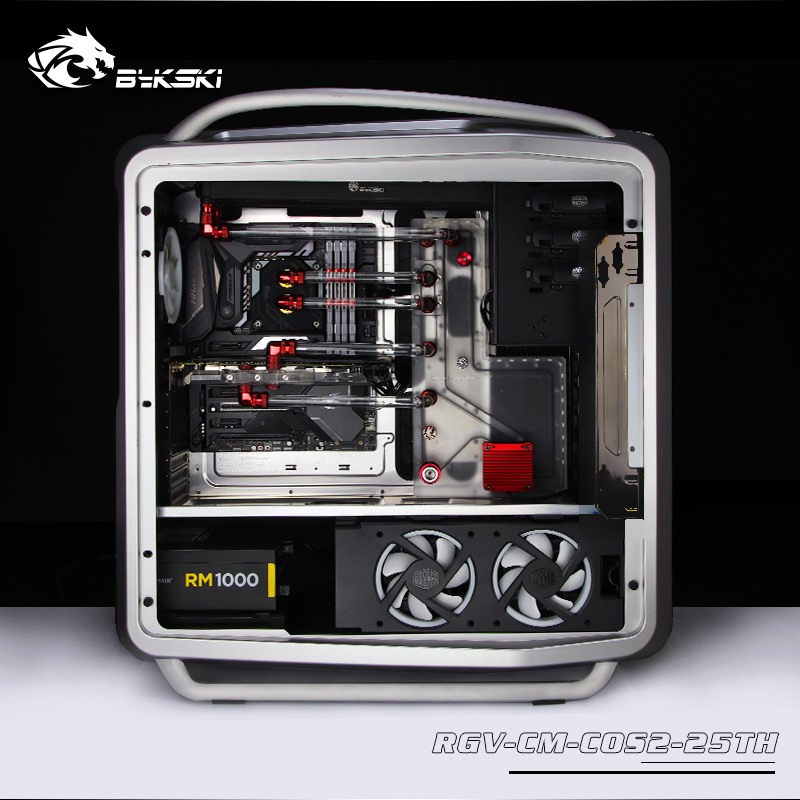 BYKSKI Acrylic Tank use for CoolerMaster COSMOS II Computer Case / 3PIN 5V D RGB / Combo DDC Pump Cool Water Channel Solution Fluid DIY Cooling     - title=