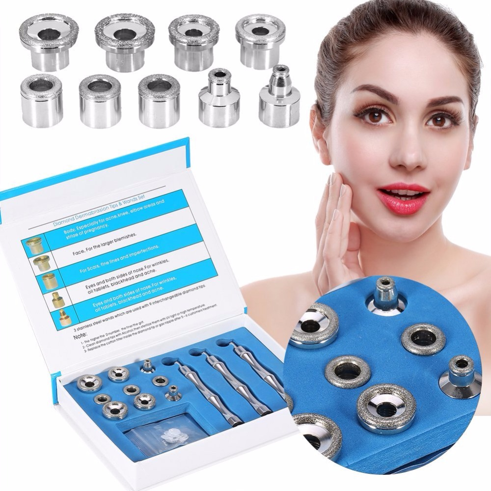 TOP BEAUTY Diamond Microdermabrasion Dermabrasion 3 Wands 9 Tips Stainless Filter Set Stainless Steel/Aluminum netdog porn filter 3 9
