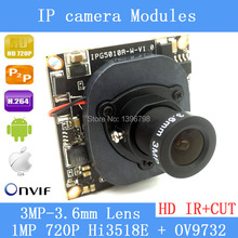 """720P 1.0MP, 1/4 """"Upgrading OV9732 Sensor with high-definition, Hi3518 ip camera board, camera module with LAN cable + 3MP Lens"""