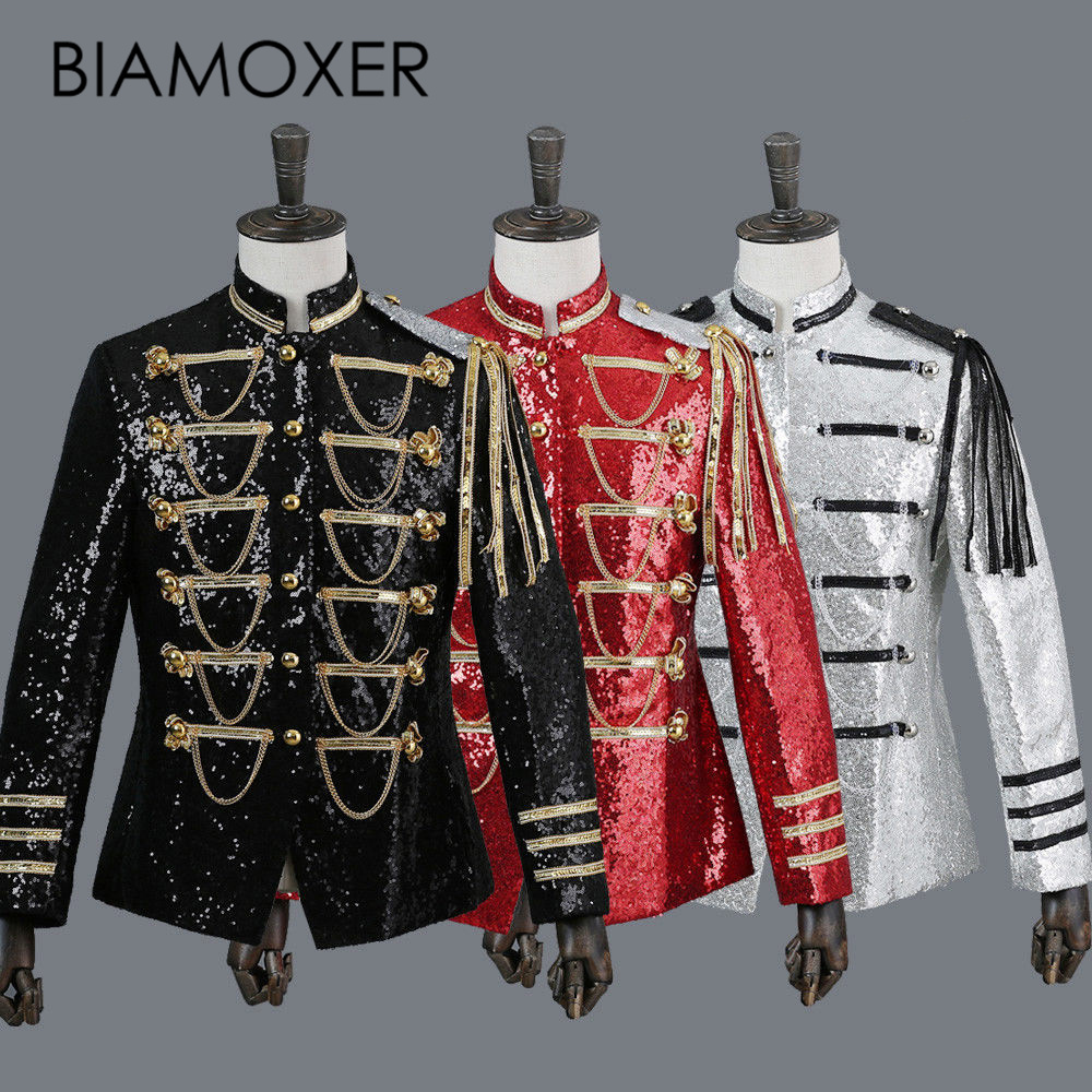 Biamoxer 3 colors Renaissance Medieval Mens Sequins Jacket Black Red Gray King Prince Royal Court Cosplay Costume