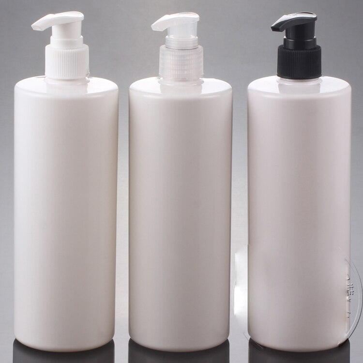 20pcs lot 500ML empty white spiral emulsion pump bottle PET Shower gel packing bottle Plastic shampoo