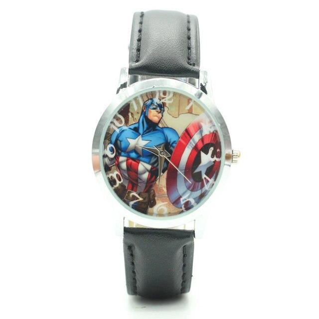 2017 New Arrival Hot Sale Captain America Cartoon Leather Quartz Watch Children'