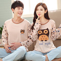 New fall cartoon couple long-sleeved long-sleeved suit thin section Cute owl pajamas sweet Leisure