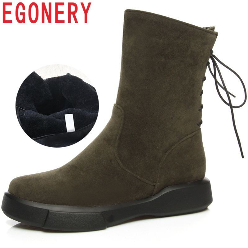 EGONERY women shoes snow boots 2018 round toe low heel winter shoes back cross tied warm inside winter woman mid calf boots