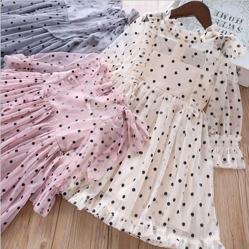 Girls Tulle Dresses 2019 New Kids Dot Dresses High-grade Girls Long Sleeve Dress Sweet Kids Costumes Children Clothing girl