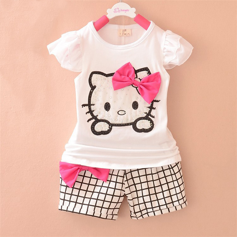 0-3 years 1 set baby girl clothes 2015 summer new 100% cotton KT cat pattern vest + shorts baby clothing 2pcs baby girl clothes