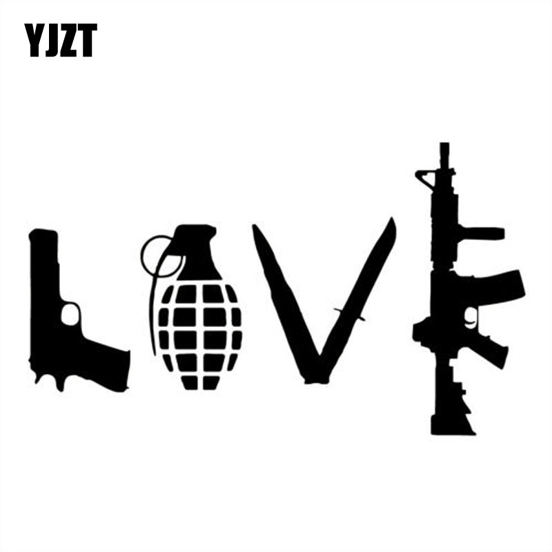 YJZT 20X11.9CM LOVE Gun Cartoon Vinyl Car Sticker Motorcycle Decals Black/Silver S8-0006
