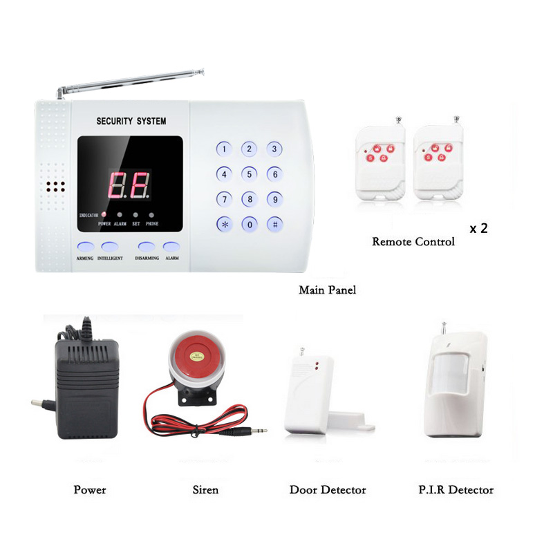 Auto Dialer Wireless Alarm SystemEnglish control Voice 433MHz Wireless Home Security Burglar Alarm System Alarm zones wireless pir home security burglar alarm system auto dialer with wireless door sensors detector new high quality