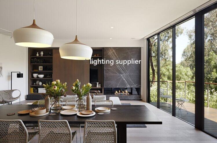 Modern Pendant Light Wood And Aluminum Lamp Black/ White Restaurant Bar  Coffee Dining Room LED
