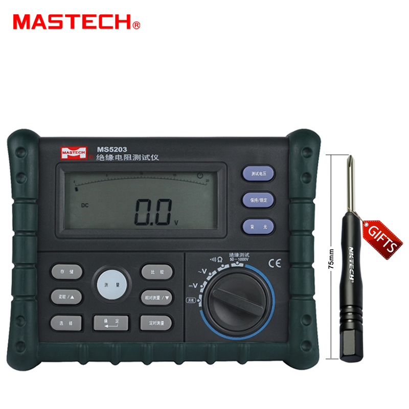 MASTECH Analog and Digital 1000V MS5203 Insulation Resistance Tester megger meter 0.01~10G Ohm with Multimeter  цены