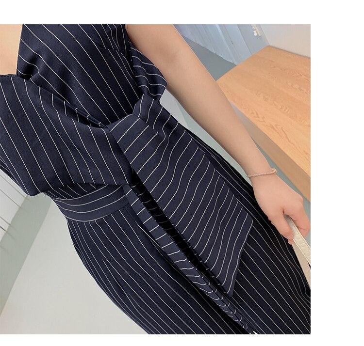 Sling Off Shoulder Sleeveless Striped Jumpsuit 2019 New Fashion V-Neck High Waist Nine Points Wide Leg Jumpsuit Summer 22
