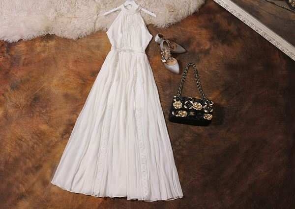 e59bf51bcc3fe US $42.0 |womens clothing 2018 Luxury White Lace Halterneck Sleeveless  Beach Vacation Maxi Dress-in Dresses from Women's Clothing on  Aliexpress.com | ...