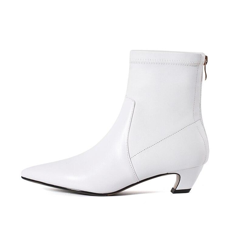 ISNOM 2018 Neue Herbst Stretch Frauen Stiefel Dick Heels Stiefel Spitz Weibliche Schuhe Zipper Winter Warm Echtem Leder Schuhe-in Knöchel-Boots aus Schuhe bei  Gruppe 2