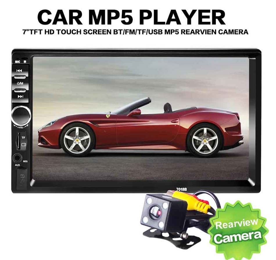цена на Autoradio Car MP5 Player TF SD MMC USB FM 7 Inch 2 DIN Car Radio Audio Stereo Player Handsfree Bluetooth TFT Touch Screen