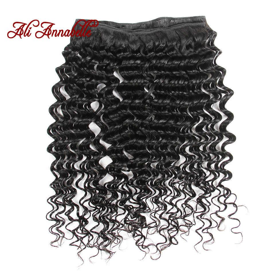 ALI ANNABELLE HAIR Human Hair Bundles With Closure Remy Hair 3 Bundles Brazilian Deep Wave Human Hair with HD Lace Closure