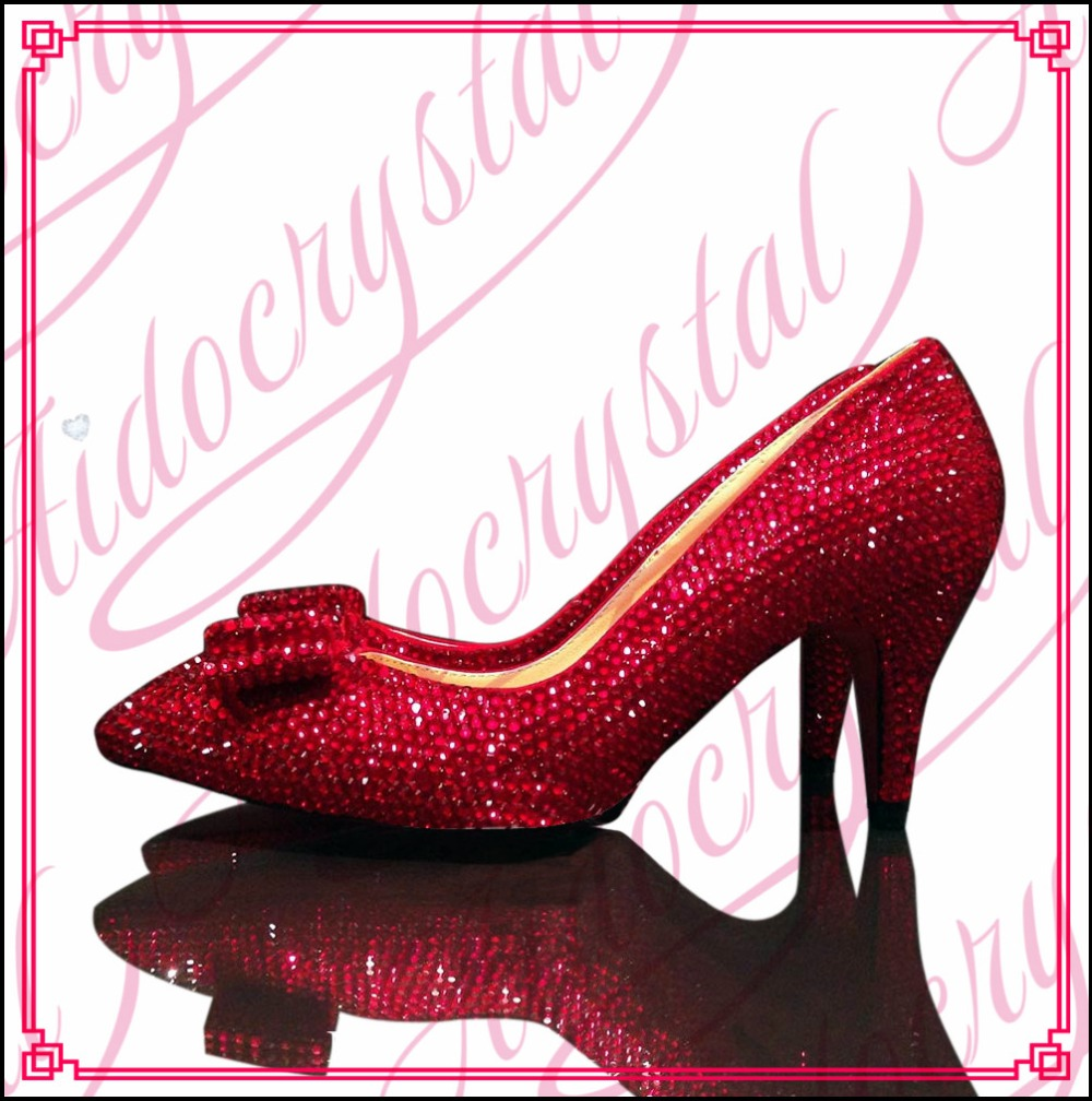 Aidocrystal Hottest 2016 hot sale red crystal supplier rhinestones women low heel shoes for party aidocrystal wholesale newest 2016 high heel black crystal shoes for girl
