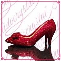 Aidocrystal proveedor Más Caliente de 2016 de la venta caliente de cristal rojo piedras mujeres zapatos bajos del talón para el partido