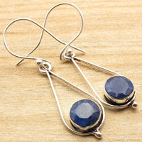 Silver Overlay Earrings Low Price SAPPHIRE Gem Birthstone Jewellery