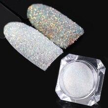 Ослепительный сахар голографический блеск пигмент дизайн ногтей Блеск пыль Мерцающий порошок украшения ногтей маникюр