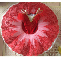 Red Giselle Tutu Sequins Adult Swan Lake Dance Costumes Ballet Tutu Platter Dance Ballet Dress For Girls Kid Skating Ballerina