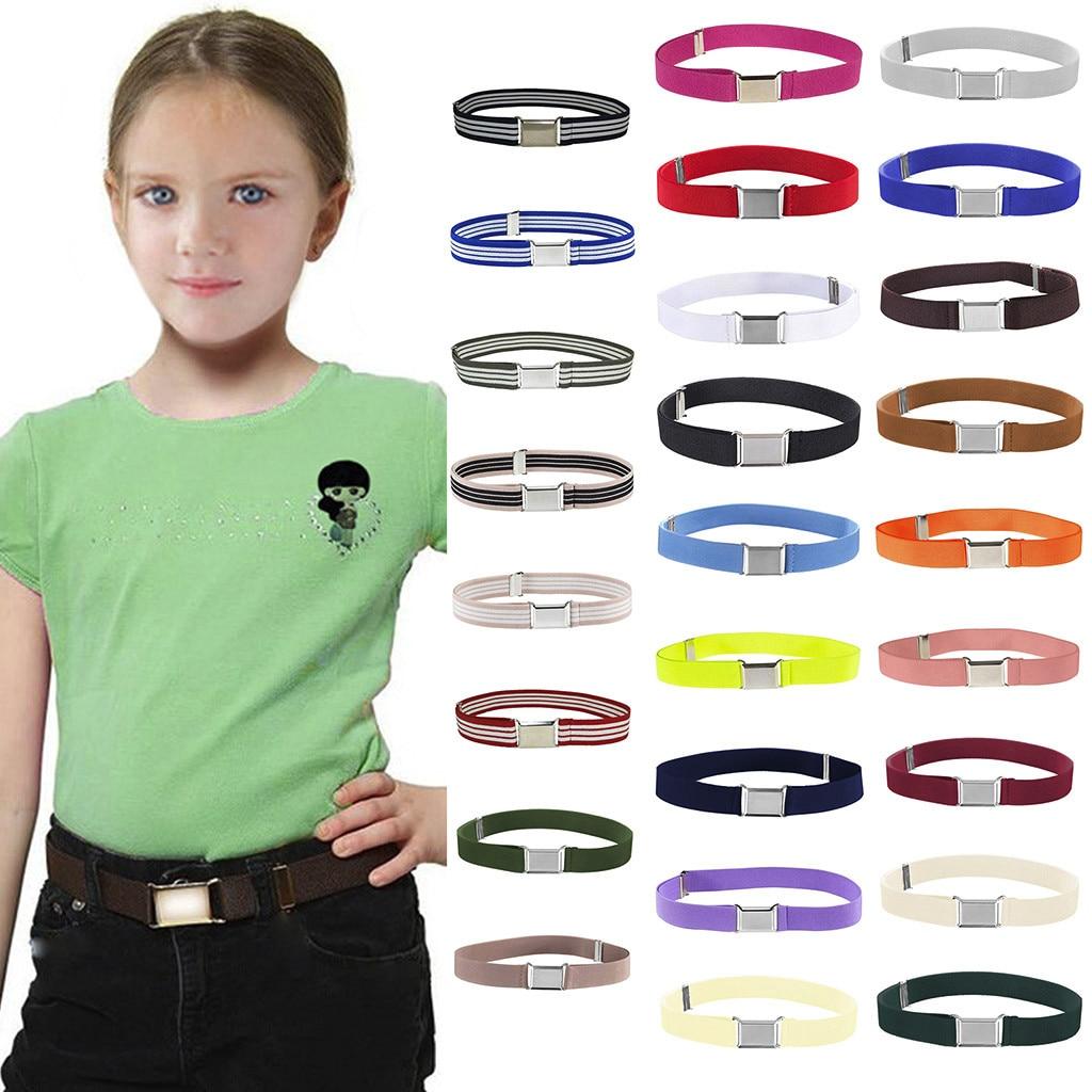 Kids Toddler Adjustable Elastic Band Stretch Unisex Belts Silver Classic Square Buckle Belt Monochrome Solid Color Pants Belt