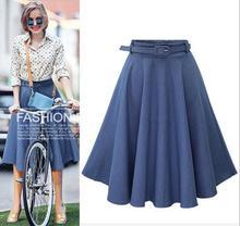 JOYINPARTY джинсовой юбке джинсы высокая талия женщины юбки длиной до колен строки эластичный пояс все матч синий midi юбка
