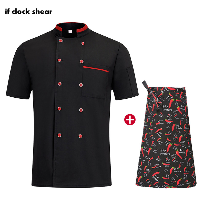 Unisex Catering Breathable Jacket + Apron Restaurant Hotel Kitchen Uniforms Short Sleeve Double Breasted Chef Work Clothes New