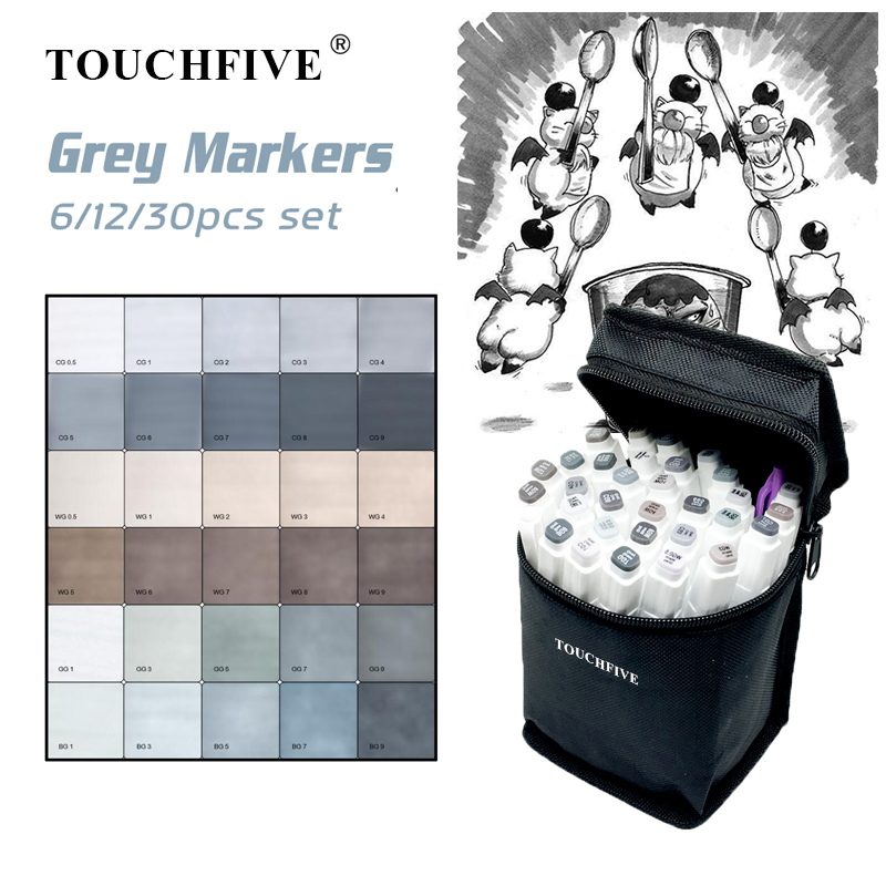 TOUCHFIVE 6/12/30 Markers Set Alcohol Based Sketch Markers Brush Pen For Manga Drawing Art Supplies Markers Gray Design