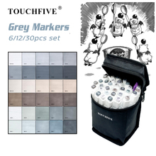TOUCHFIVE 6/12/30 Markers Set Alcohol Based Sketch Brush Pen For Manga Drawing Art Supplies Gray Design