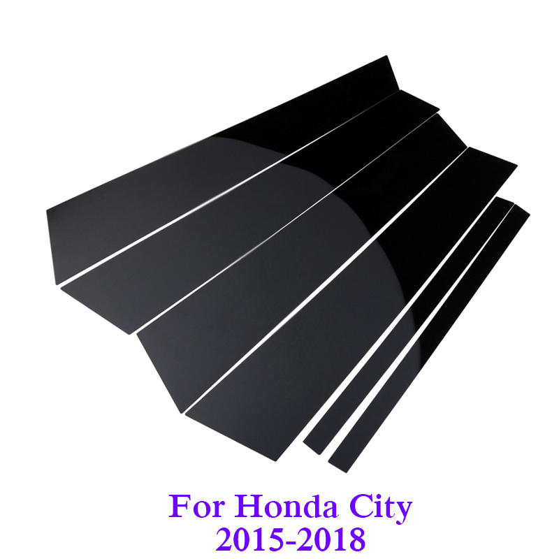 Car-styling 6PCS For Honda City 2015-2018 Car Window Center Pillar Stickers Trim External Decoration Films Auto Accessory