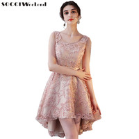 SOCCI Weekend Khaki Bridesmaid Dress 2018 Short Front Long Back Women Formal Wedding Party Dresses For