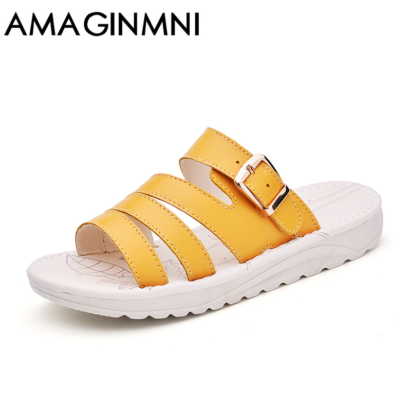 AMAGINMNI Brand 2017 New Summer Beach Slippers Sandals Casual Buckle Clogs Women Slip on Flip Flops Flats Shoes women Fashion  poadisfoo 2017 new summer style slip on women sandals flats for women black white color slippers shoes women hykl 1603
