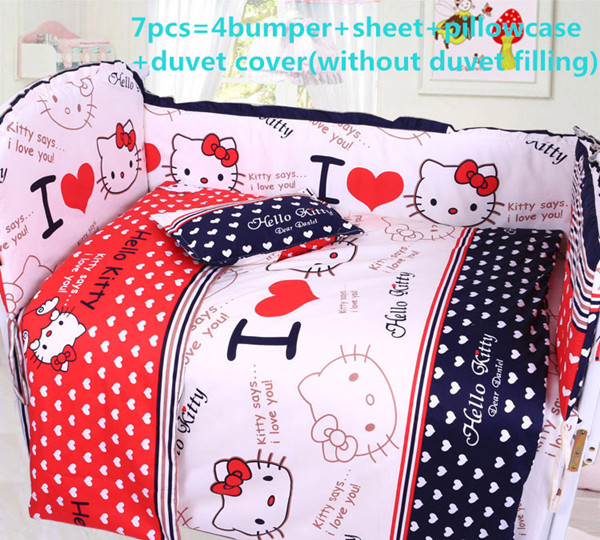 Promotion! 6/7PCS Cartoon quilt bumper cot crib bedding set,baby bedding set120*60/120*70cm promotion 6 7pcs cartoon crib baby bedding set baby nursery cot bedding crib bumper quilt cover 120 60 120 70cm