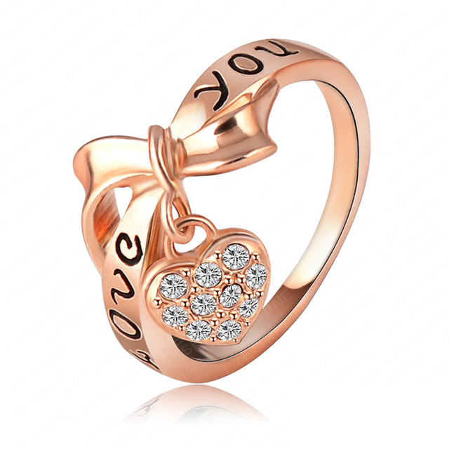 Heart Shaped LOVE Alphabet Ring Wedding Ring Gold Rings For Women Valentines  Gift Jewelry Women
