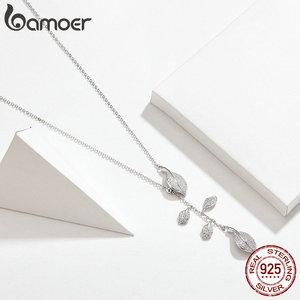 Image 3 - Женское Ожерелье в форме листа bamoer, свадебное ожерелье из серебра 925 пробы с прозрачным кубическим цирконием, BSN075