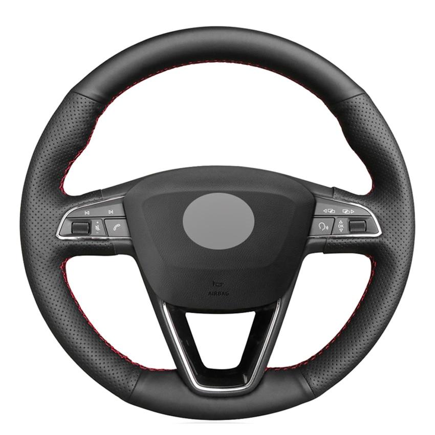 Black PU Faux Leather DIY Car Steering Wheel Cover for Seat Leon 5F Mk3 2013-2019 Ibiza 6J Tarraco Arona Ateca Alhambra