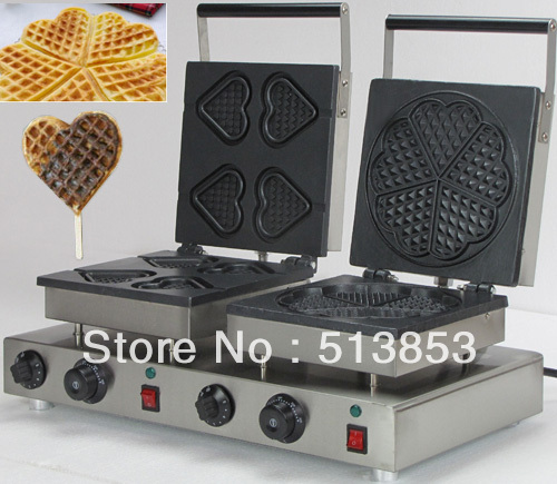 Free Shipping,High Quality Doulbe-Head Electric Heart Shape Waffle Maker and flower shaped Machine Baker high tech and fashion electric product shell plastic mold