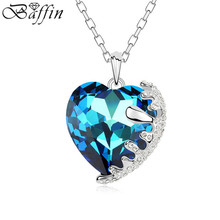BAFFIN Crystal Heart Pendant Maxi Necklace For Women Wedding Party Accessories Gift Fashion Jewelry Made With SWAROVSKI Elements(China)