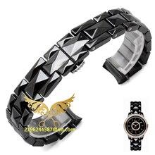 15mm 17mm de Alta calidad de Plata Depolyment Hebilla de Reloj de Cerámica Blanco y correas de Reloj Brazaletes Envío Libre Común