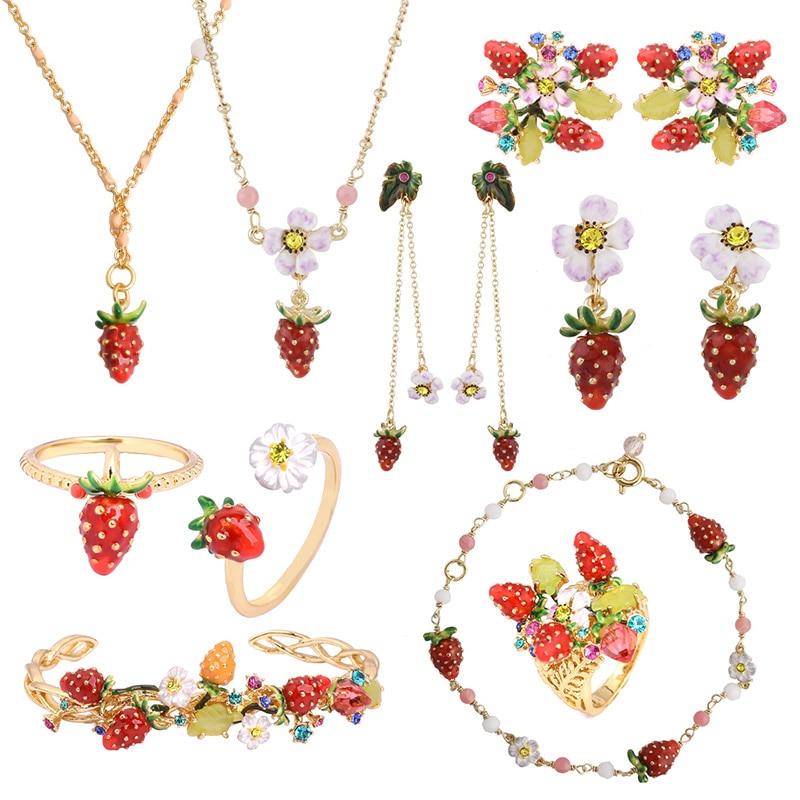 Luxury Statement Strawberry Flowers Gem Jewelry Sets For Women Enamel Glaze Fruits Earrings Rings Necklace Bracelet Jewelry a suit of vintage faux gem elephant necklace bracelet and earrings for women