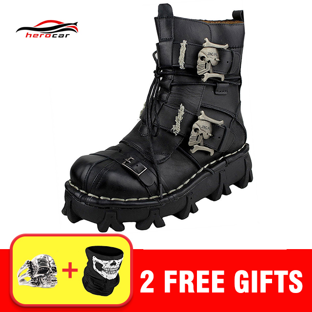 Cool Motorcycle Boots Men Biker Retro Genuine Cow Leather Skull Punk Martin Shoes Motorbike Moto Boots Protective Gear EU 38-49 distressed blue jeans men latin cow brand clothing mid stripe luxury denim destoyed men s moto biker jeans ripped uomo 802 c