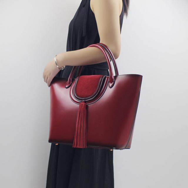 Genuine Leather Women Handbag Big Bag 2017 New Leather Simple Female Large Capacity Portable Shoulder bag Top Handle Women Tote