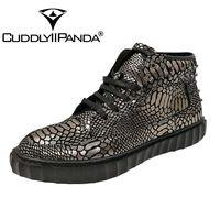 CUDDLYIIPANDA Erkekler Moda Sneakers Yeni Varış Erkekler Perçinler Üst Ayakkabı Hakiki Deri Erkek Kış Sıcak Ayakkabı Kürk ile Erkekler Martin