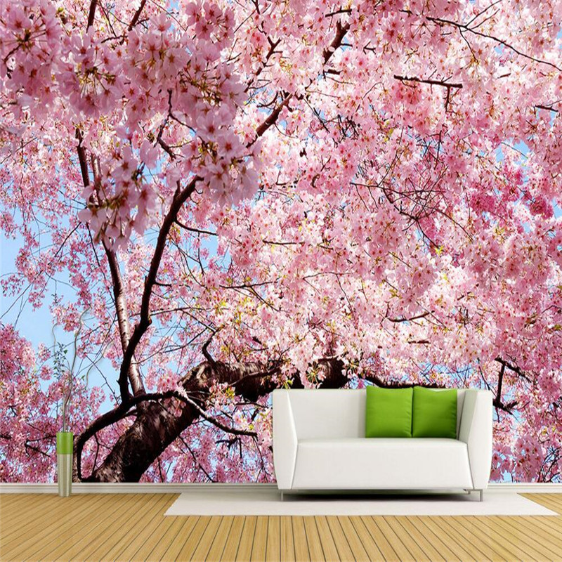 Custom Any Size Modern Wall Wallpaper Pearl Butterfly Silk: Popular Cherry Blossom Wallpaper-Buy Cheap Cherry Blossom