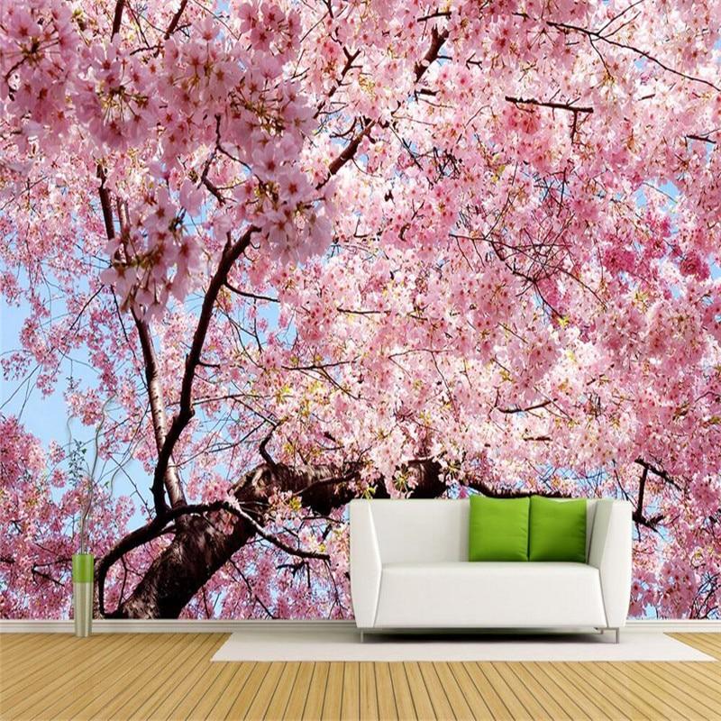 Kustom Foto Wallpaper Bunga Sakura 3D Stereo Mural Besar Wallpaper Kamar Tidur Sofa TV Latar Belakang