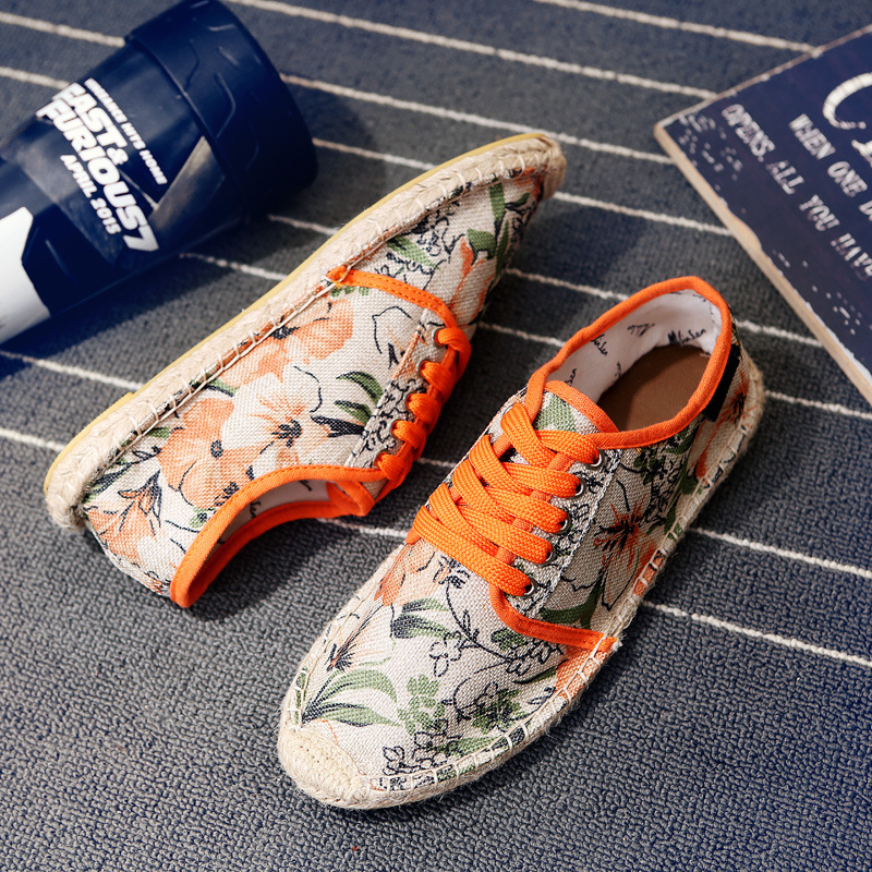 2017 ZIMNAFR MARCA zapatos de lona de los amantes de impresión de lino respirabl